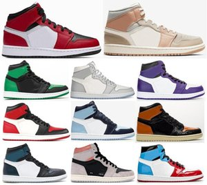 Neue 1 Mid Chicago Black Toe Mailand 2020 Court Lila Bred Toe UNC-Patent Basketball-Schuh-Männer 1s Top 3 Neutral Grau Chameleon Sneakers