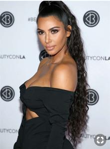 Kim kardashian largo peinado de cola de caballo rizado 24 pulgadas 1 unids cordón humano cola de caballo 140 g o 160 g color natural