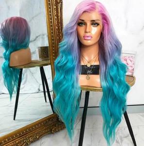 Гламур красочные роскошные волны тела волосы шнурок передний парик Знаменитости Рианна стиль пателя Unicorn радуги цветные волосы полные кружевные фронтские парики