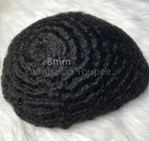 Sostituzione di Afro Curl 360 Saluto PU completa parrucchino Uomini capelli parrucchino parrucca piena del merletto Uomini Posticci cinesi capelli umani del Virgin per Uomo Nero