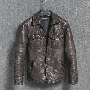 Chaqueta de cuero genuino Vintage Slim Chaqueta de cuero para hombres Chaqueta de piel de oveja para motocicleta Short Jaqueta Couro 16301888M01-2 YY411