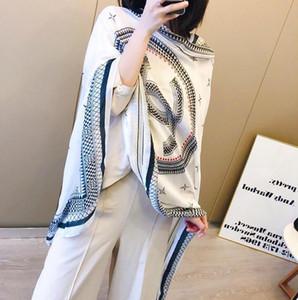 Bufanda de la marca para las mujeres 2018 Primavera Carta Patrón Marcas de lujo Bufandas de diseño 100% Seda Bufandas largas Tamaño 180 * 90 CM Top Qualtiy