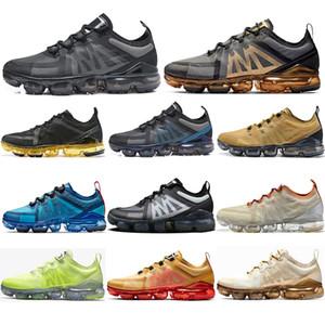 مع الجوارب 2019 أعلى جودة ذبابة المتسابق الرجال النساء الاحذية أسود رمادي فولت الألومنيوم الأزرق الأبيض الذهب خفيفة الوزن تنفس أحذية 36-Nike Air VaporMax 2019 45