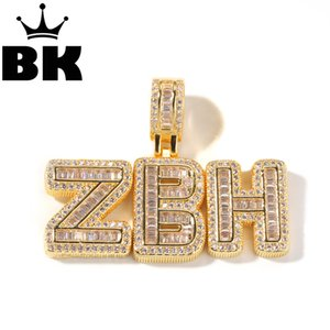 HIP HOP Custom Small Baguette Letter Pendant Necklace Combination Words Name With CZ Tennis Necklaces Zirconia Jewelry