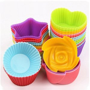 7 cm silikagel liner backform silikon muffinschale backförmchen kuchen tassen cupcake herz stern runde form