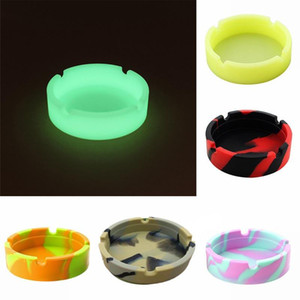 Luminous Silicone Ashtray Portable Camouflage Soft Rubber High Temperature Heat Resistant Cigar Ashtray Cigarette Holder Tools DDA24