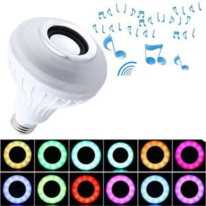 RGB Wireless Bluetooth Speaker LED Bulb E27 12W Smart Led Light Music Player Audio with 24 Keys Remote Control