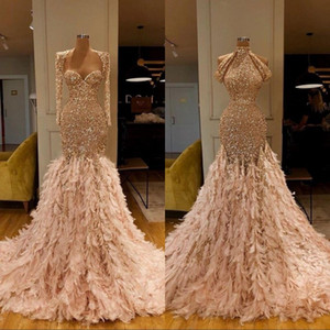 Langarm-Goldfeder-Nixe-Abend-Kleid-Abschlussball-Kleid mit Pailletten formale Abendkleider robe de Soiree Abendkleider