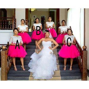 Plus Size Abiti da sposa corti Capped maniche gioiello africano con pizzo applique Invitato a un matrimonio Abiti indietro Zipper ginocchio abito partito