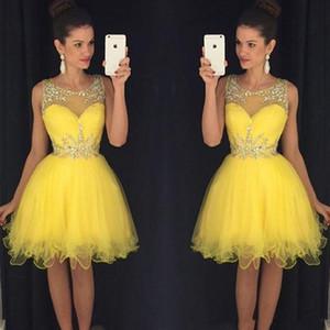 2020 Bling Yellow Vestidos de regreso al hogar Cuello redondo transparente Cristales de cuentas Tulle Mini vestidos de baile cortos vestido formatura curto Vestidos de cóctel