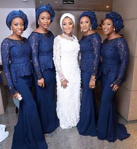 Mermaid 2020 dark blue Bridesmaid Dresses arabic long sleeves Wedding Guest Party Maid Of Honor gowns robes de demoisel