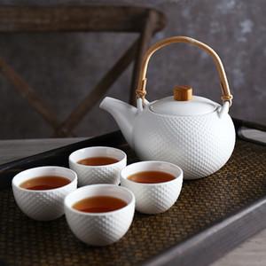 클래식 Tetsubin 디자인 도자기 티 세트 1 찻 주전자 4 티 컵 느슨한 잎을위한 꽃 티 매트 화이트 그린 구호 점