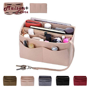 Felt Insert Bag Zipper Multi Pocket Handbag Purse Organizer Holder Makeup Travel Bag Cosmetic Bags and Cases dropship CY200518