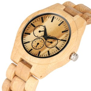Natural Bamboo Quartz Watch Movement Without Literal for Women Men Minimalist Wooden Watches Elegant Wood Strap Wrist Watch