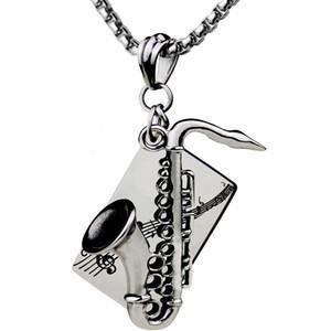 30 штук за лот саксофон кулон ожерелье мужская ожерелье из нержавеющей стали оптом высокое качество ожерелье из нержавеющей стали