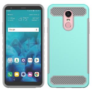 Híbrido Armadura capa para LG Stylo 4 MetroPCS Stylus 4 capa para LG Aristo 2 MetroPCS LV3 2018 Carbon Fiber TPU + PC Tampa traseira
