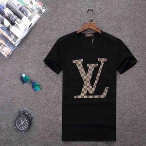 Toptan Erkekler 2019 Yaz Erkek Tasarımcı t shirt Avrupa Tarzı Kadife T-shirt Yuvarlak Boyun Pamuk Kısa Kollu Erkek ve Kadın T Shirt E8