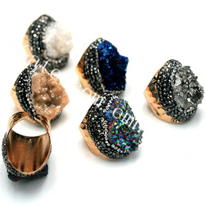 10pcs élégant plaqué or rugueux agate titane druzy incrusté de cristal anneau réglable Brillant Freeform Drusy pierre précieuse Geode bijoux anneau