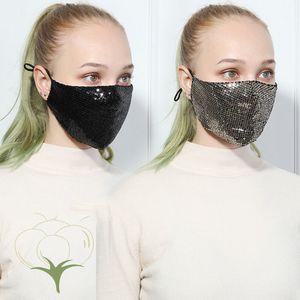 Parlak Sequins Yıkanabilir PM2.5 Yüz Ağız Yeniden kullanılabilir Pamuk Koruma Masker Siyah Anti-Dust Masker Karşıtı Kirlilik 2 İşlem Maske Maske