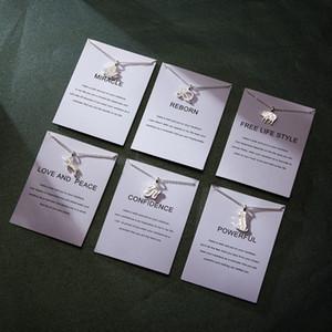 실버 목걸이 절묘한 부인의 장식품 동물 장식품 중국어 조디악 용지 카드 플레이트