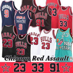 Red Assault Michael Scottie Pippen 33 Dennis Rodman 91 Retro ricamo Jersey Chicago dinastia Basketball Maglie