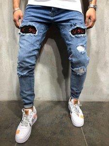 Mens конструктора Омывается Hole Jeans Лето Весна Тощий вышивки Письмо Синий карандаш брюки Hiphop Street Jeans