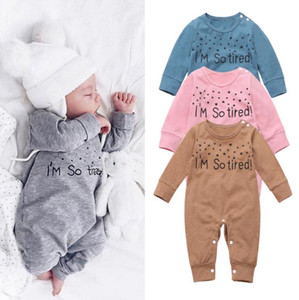 Kids Designer Ropa Baby letra impresa mamelucos niño manga larga mono mansiones niñas niños primavera otoño Onesies de cálido traje Py632