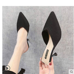 Net red lazy Baotou half slippers women wear 2019 summer new knitted stiletto pointed high heel sandals sexy autumn