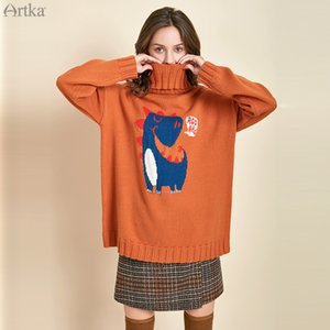 ARTKA 2019 Winter New Women Sweater Cartoon Embroidery 3 Colors Turtleneck Sweaters Thicken Warm Loose Pullover Sweater YB11094Q