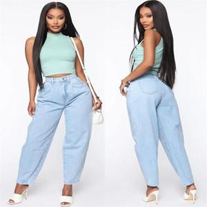 Высокая талия Light Blue Jeans Свободный Свободный Длинные брюки Женская одежда Женская Дизайнерская Широкий ноги джинсы Повседневный
