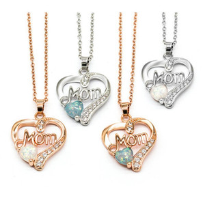 Love Heart Mom Necklace Opal Cubic Zirconia Silver Rose Gold Color Chain Letters Necklace for Mother Day Mom Birthday Statement Jewelry Gift