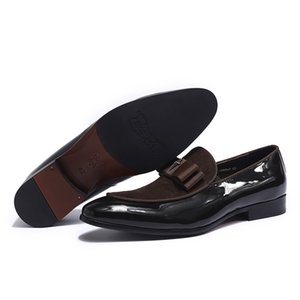 Cuoio genuino hecho a mano y Retazos de cuoio nobuck con pajarita hombres boda zapatos de vestir Negros mocasines banquete