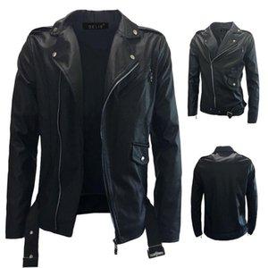 남성의 기관차 슬립 칼라 슬립 지퍼 가죽 자켓 모토 자전거 바람 증거 벨트 멋진 재킷 패션 청소년 코트 하락 선박