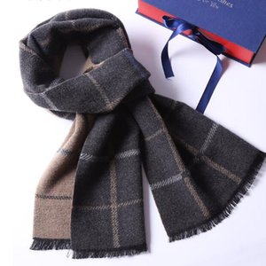 mens scarf Autumn and winter mulberry silk wool scarf lovers with simple European and American grid hot style n