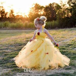 Мода Цветочная Girl Платья Цветочная аппликация Пушистый бальное платье для рождения Довольно причастие платье Дети Новоселье Хэллоуин Рождество платье