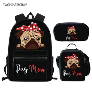 Twoheartsgirl 3pcs / set Schoolbag Backpack para Bag Crianças Adorável Pug Imprimir meninas adolescentes Boys School Estudantes Dog Book Bags