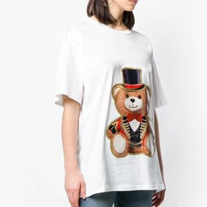 19SS NEW Luxury Designer T-shirt Cartoon Bear Printed Summer Men Women Skateboard Street Short Sleeves Casual Simple White Tee HFYMTX120