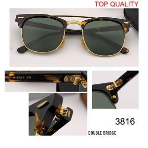 Güneş Çerçevesiz Kulübü Kalite Gafas En Yarı Sürüş Tasarımcısı UV400 Master Gözlük Klasik Yeni Güneş Gözlüğü Marka Bayan Erkek RD3816 Square GL QCAV