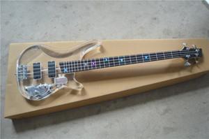 Yeni yüksek kalite akrilik pleksiglas nakliye ücretsiz şeffaf 4 telli elektrik bas gitar LED ışıklar parmak plakası