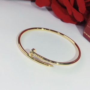 Kadınlar en güzel hediye Lüks Üstün kalite takı için S925 gümüş Vida çivi klasik Bilezik Altın Bilezikler Punk Bileklik markaları