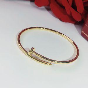 S925 prata esterlina parafuso unhas clássico Pulseira de Ouro Pulseiras Punk por Mulheres melhor presente de luxo jóias de qualidade Superior marcas Bangle