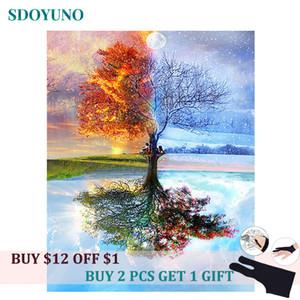 SDOYUNO Four Seasons Tree 60x75cm DIY Рамка картины номера для взрослых Украшения номера Home Decor Numbers Краска подарка