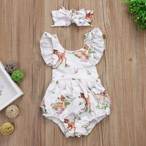 Toddler Infant Baby Girl Clothes Christmas Deer Romper Headband 2Pcs Set fashion Outfit Newborn Boy Clothes Children Sets