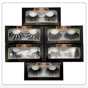 10 style chaud vente 25 mm faux cils 5d vison cheveux 6d en trois dimensions désordonné cils touffus 2 pcs = 1 paire = 1 lot livraison gratuite DHL
