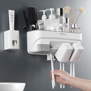 Portaspazzolino Distributore automatico di dentifricio Squeezer ABS Bagno rack di stoccaggio a parete accessori bagno Set 2 Styles