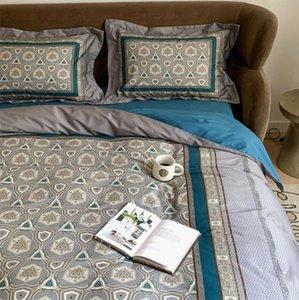 Modern simple bedding set,full queen king 60s cotton vintage geometric double home textile bed sheet pillow case duvet cover