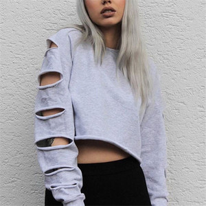 Autumn Casual Long Sleeve Hoodies Women Fashion Short Sweatshirt Crop Top Holes Midriff Pullover Tops