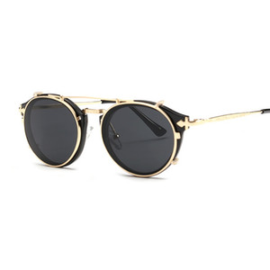 Vidano Optical vintage redondo mujer gafas de sol steampunk retro hombres mujer diseñador gafas clip en gafas de sol góticas gafas de sol