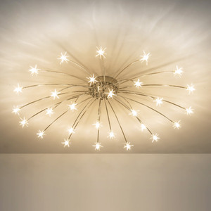 Techo nórdica de la estrella LED lámpara de techo de luz del dormitorio salón comedor cocina accesorio de iluminación de la sala de la lámpara moderna