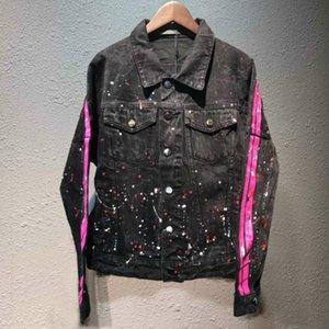Di Lusso Europeo Giacca di Jeans Cowboy locomotiva Giacca di jeans di colore della lavata Splash inchiostro uomini e donne di Modo Del Progettista Giacca Hfwpjk168